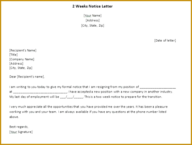 2 week notice letter format images example two weeks uk 503668