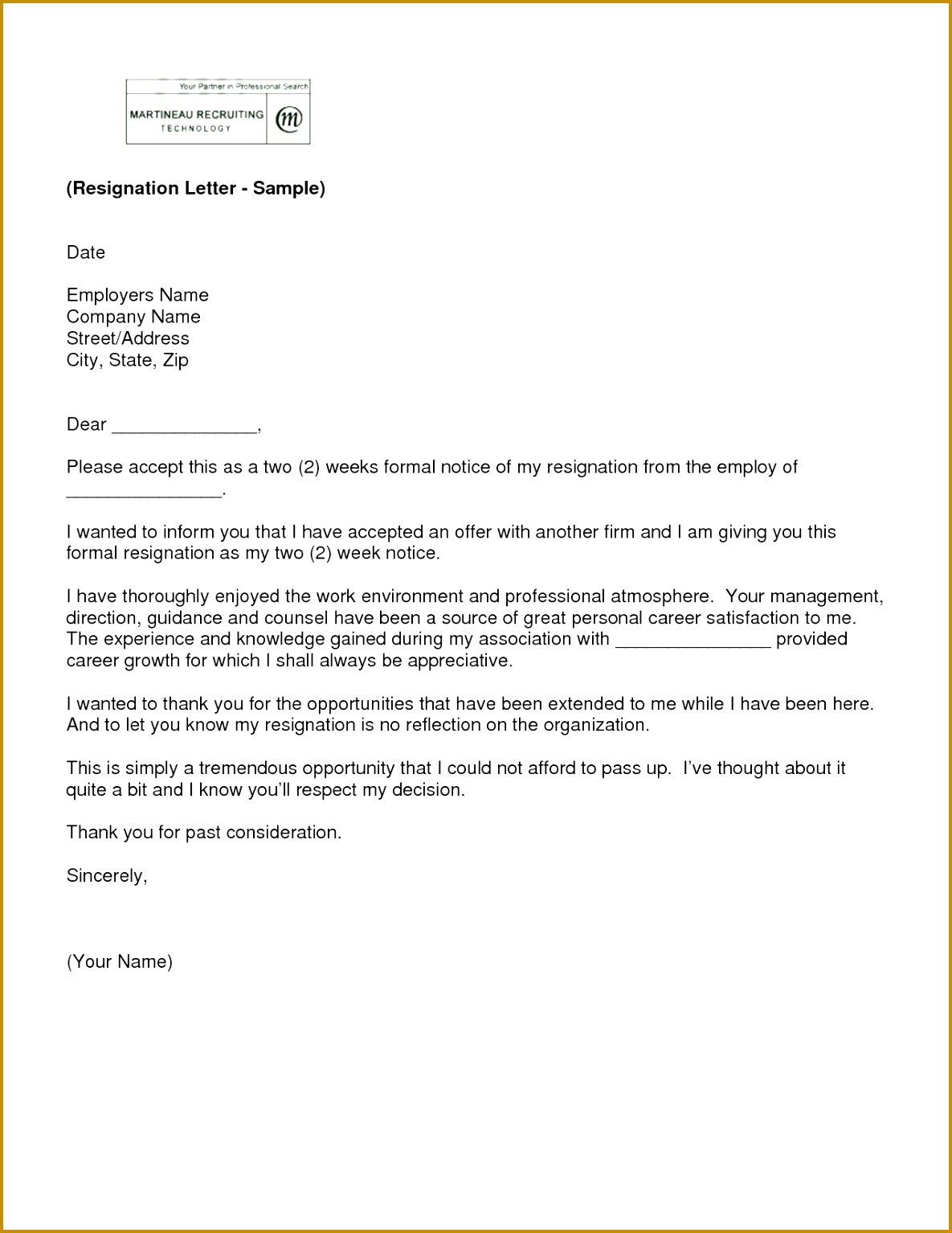 letter of resignation 2 weeks notice template 15341185