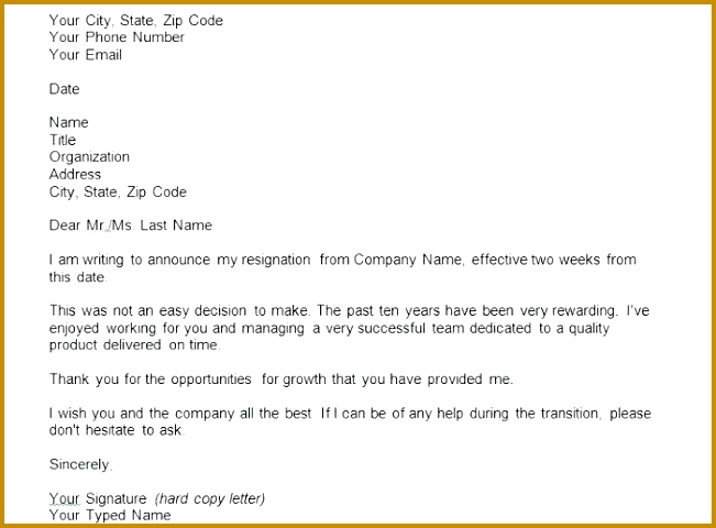 printable two weeks notice letter format sample retail 480651