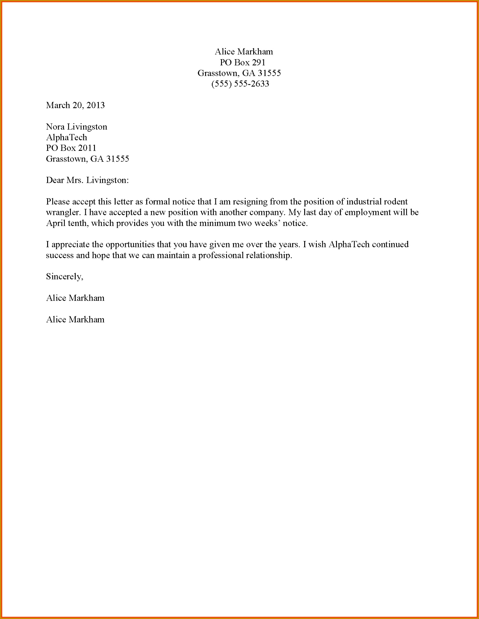 Formal Resignation Letter Templates formal Resignation Letter Template 20601595