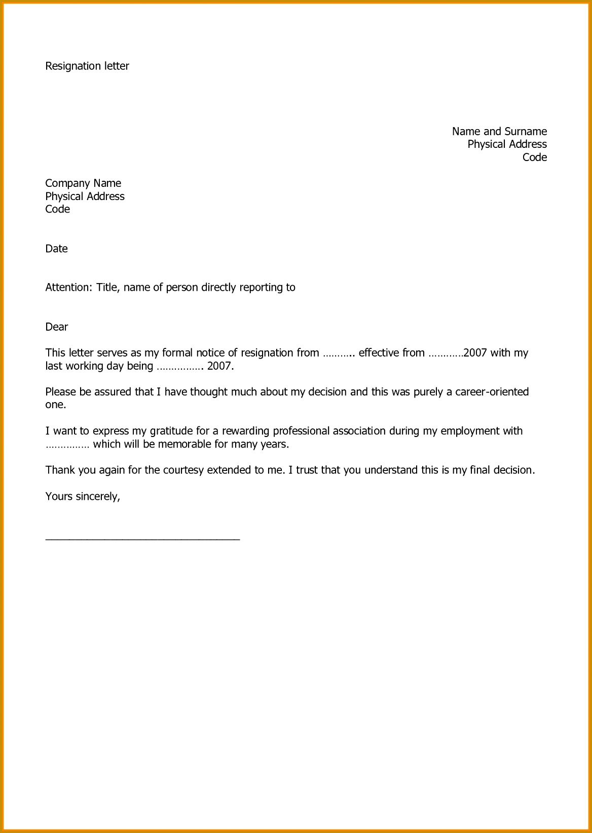 20 Two Weeks Resignation Letter Template 16451168