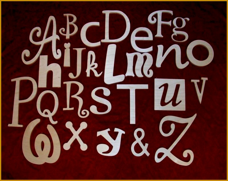 """Alphabet Wooden Letters Set Unpainted 10"""" TO 5"""" mixed fonts nursery letters 591744"""