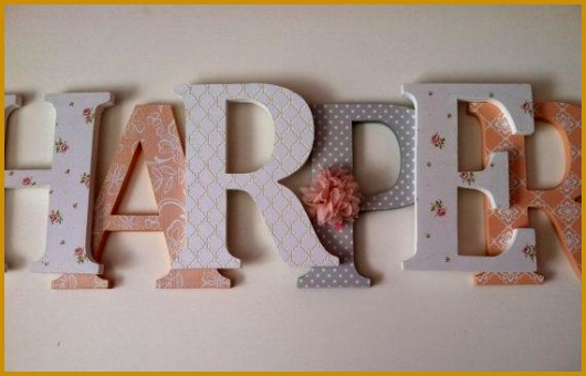 Wooden letters for nursery in peach gray and by SummerOlivias 340530