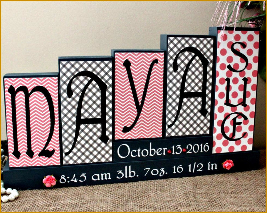 Decorative Nursery Block Letters Personalized Baby Name Birth Stats Wooden Sign Unique Baby Shower 909728