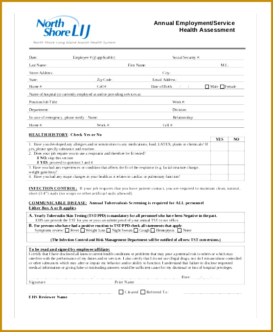 annual employee health assessment form 678558