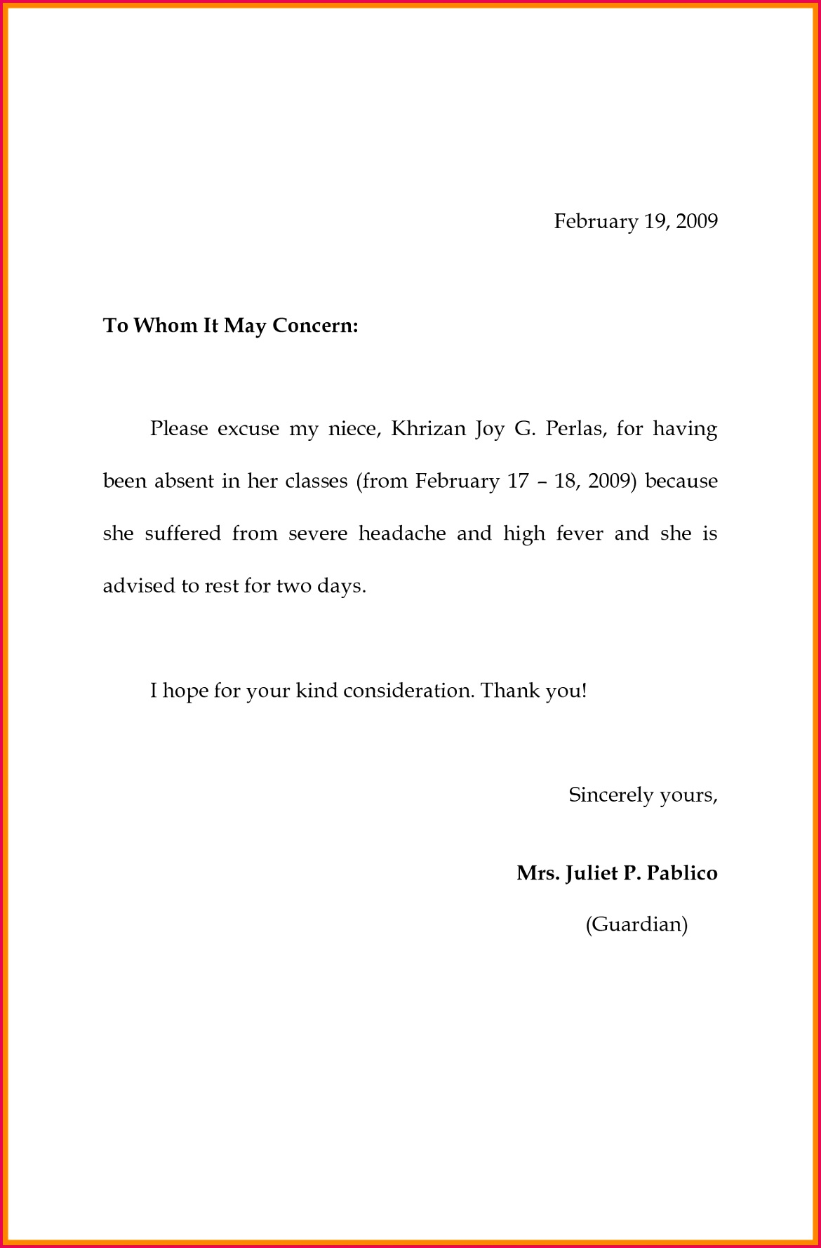 Absent Note for School Template New format Excuse Letter for Being Absent Fresh 8 Excuse Letter
