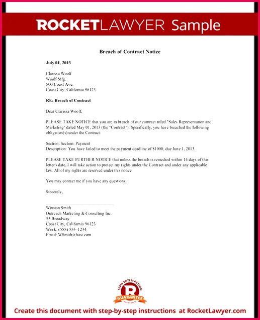 Sample Breach of Contract Notice Form Tamplate
