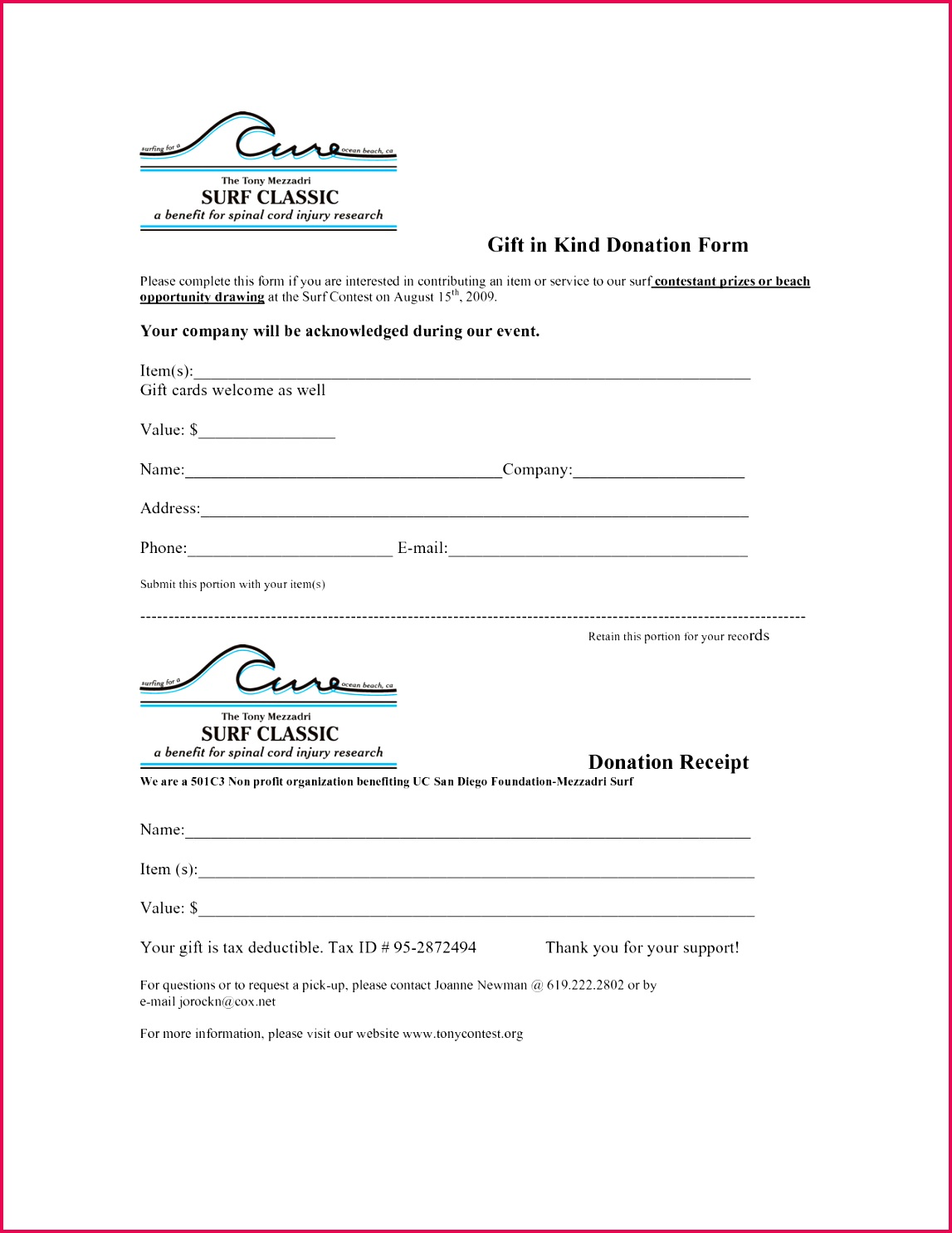 free donation forms