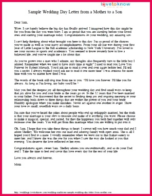 Printable letter from mother to son