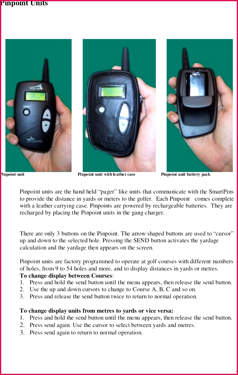 Blank Golf Course Better 0d Hand Held Yardage Measurement Transceiver User Manual s Blank Golf
