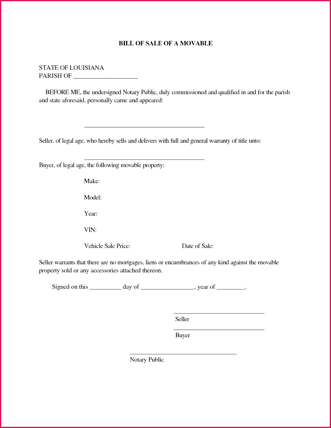Sample Bill Sale for Used Car with Free Notarized Bill Sale form Template Word