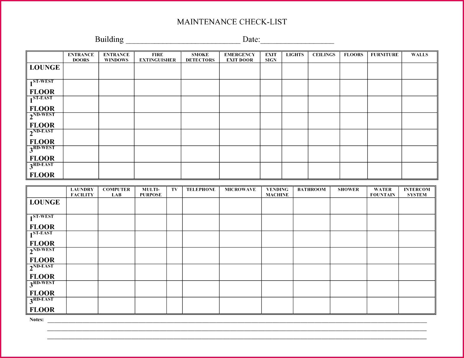 Building Inspection Checklist Template New Building Maintenance Log Template Kleoachfix