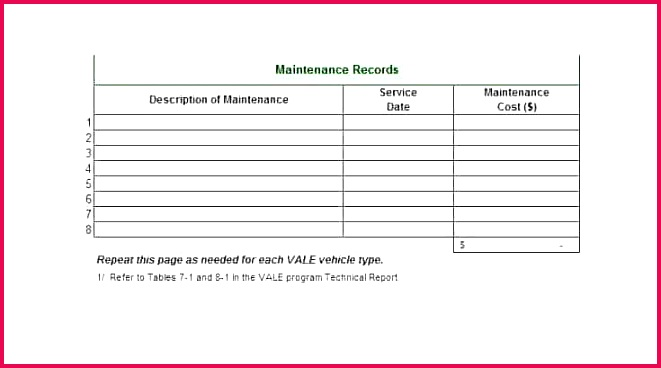 free vehicle maintenance log template program preventive