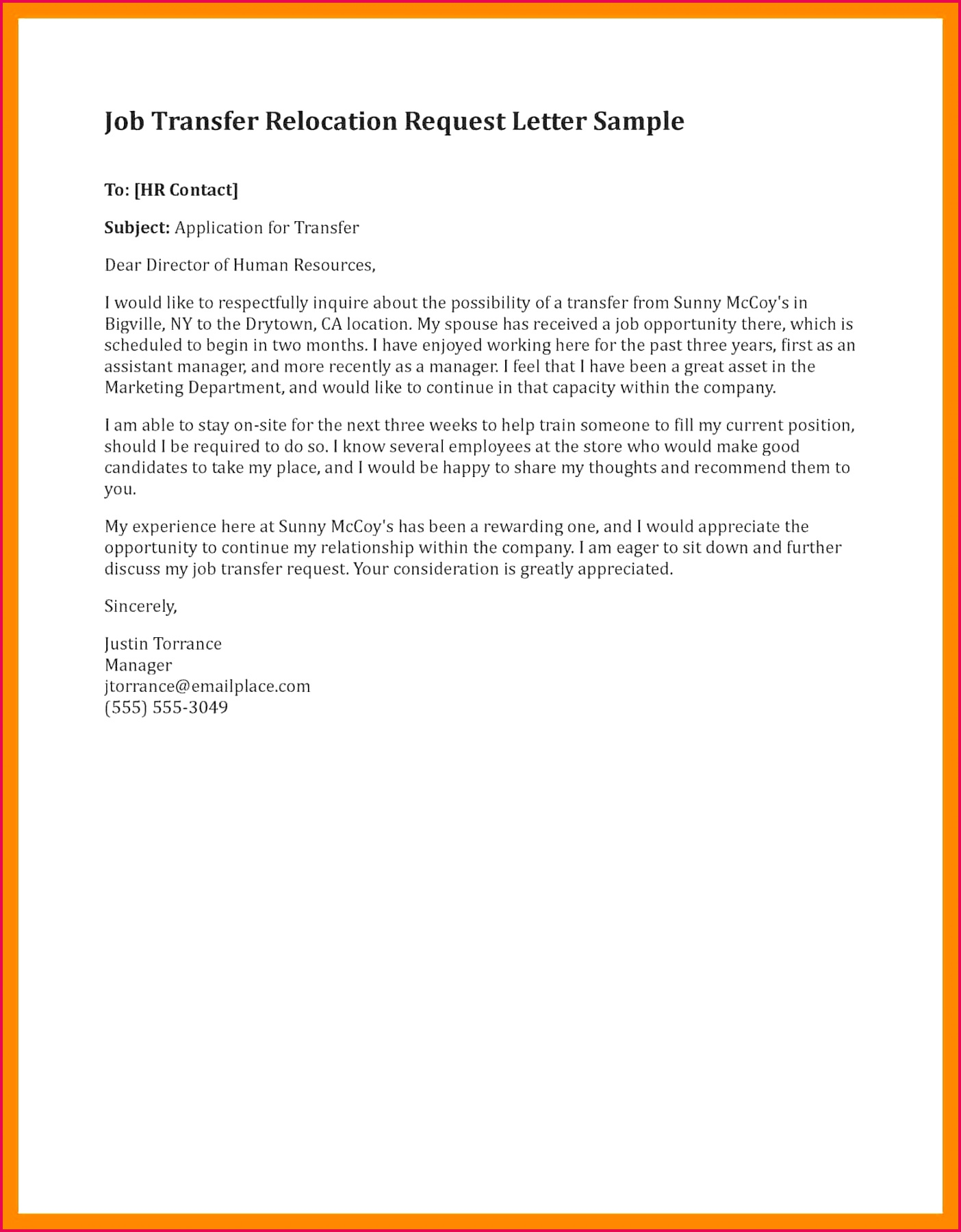 Sample Job Transfer Letter Inspirationa Transfer Request Letter Employee Reinstatement Notice Letter Use the Employee