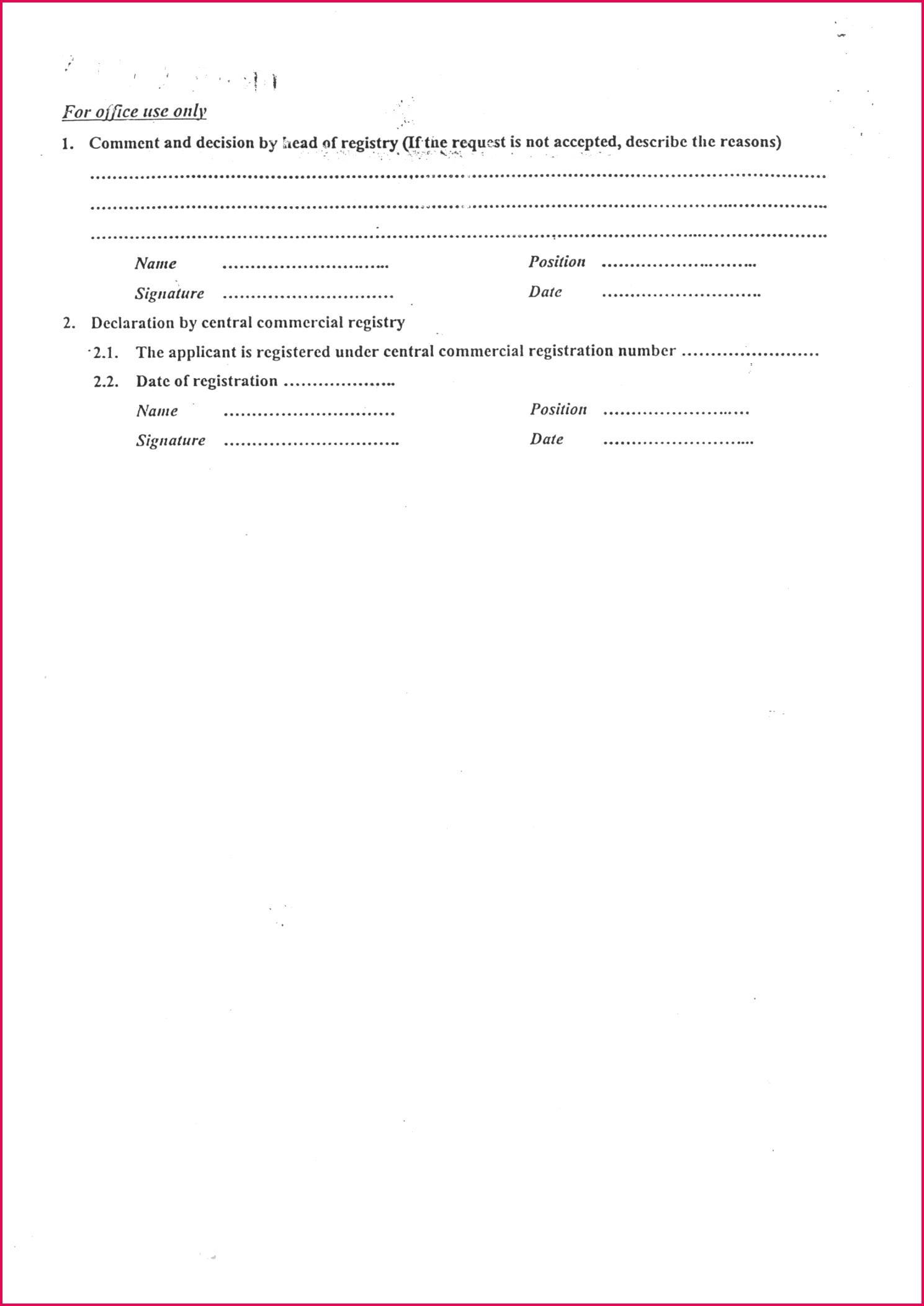 Application form trade registration Application form trade registration 2