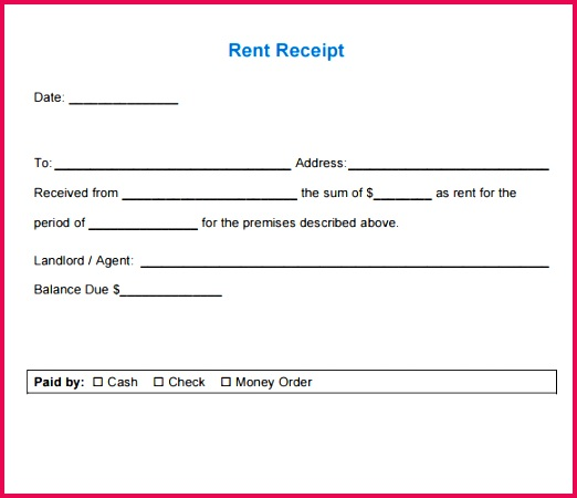 rent bill format