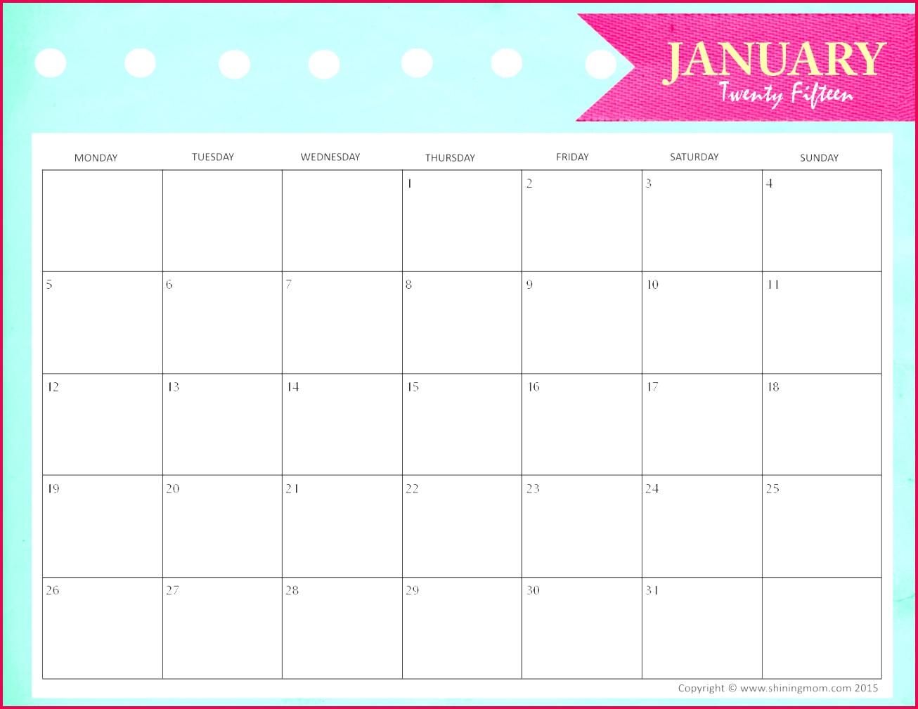 Calendar 2017 Template Pdf Unique Printable Blank Monthly Calendar New Printable 0d Calendars