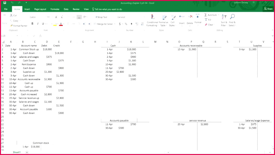 How To Make General Ledger Accounts In Excel T Accounts