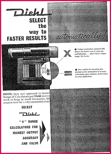 """Diehl """"V"""" range calculators for highest output accuracy and value"""" mechanical calculator"""
