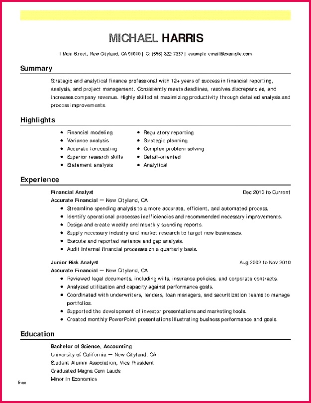 Accounting Process Simple Resume for Accounting Fresh Resume Examples 0d Skills Examples for format