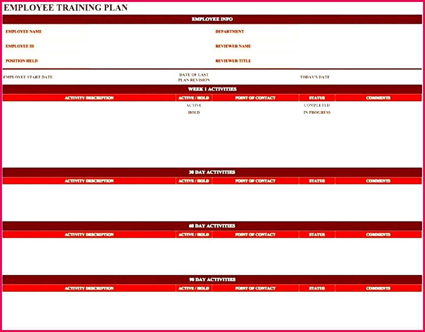 employee training template free training schedule template excel