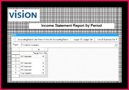 This figure shows an example of an in e statement report in the Financial Reporting Studio designer