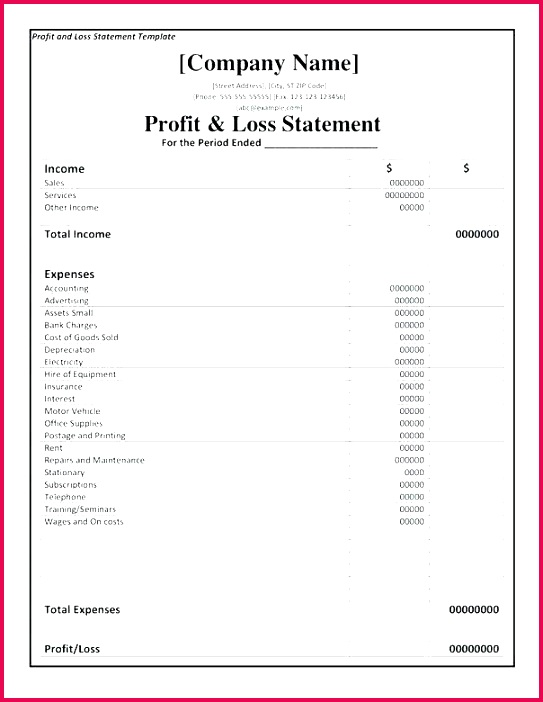 business pl statement and restaurant profit loss excel template year to date free
