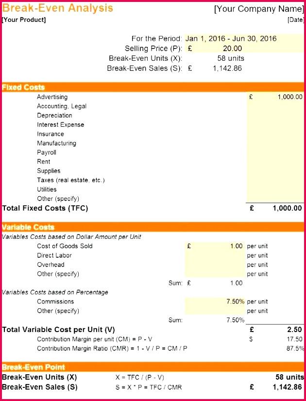 Break even Analysis Excel Template Break even Point Excel Template Free Template Design