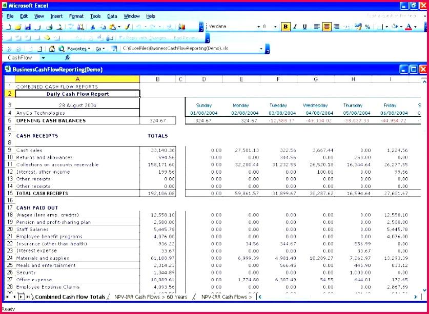 3 Cash Flow Worksheet Excel 36532 | FabTemplatez