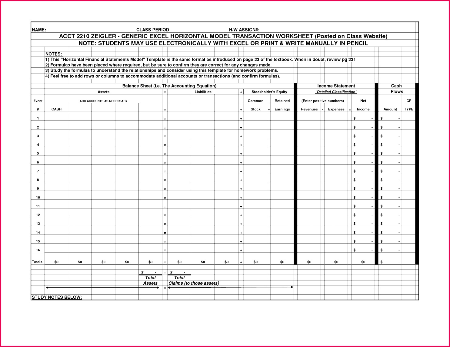 accounting equation excel template