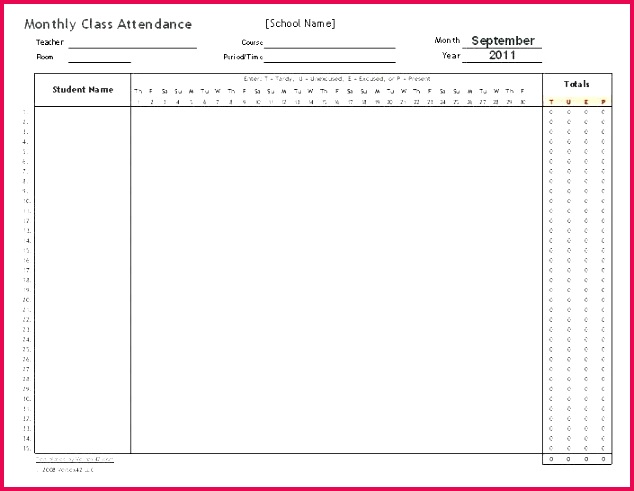 monthly attendance record template free templates pdf weekly attendance sheet free templates record template