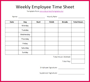 Free Printable Timesheet Templates