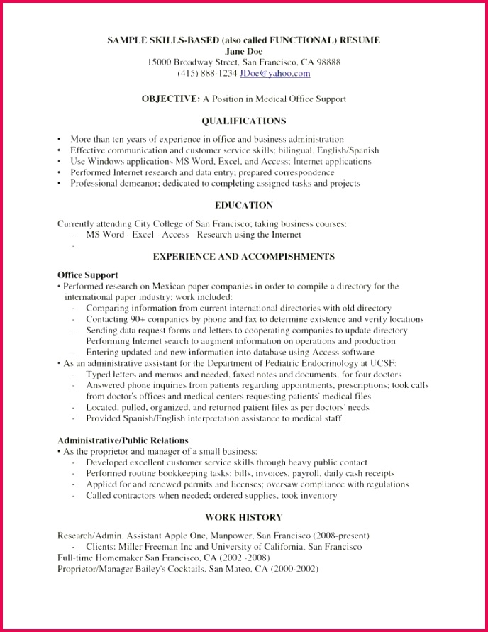 Example A Functional Resume Fresh Awesome Examples Resumes Ecologist Resume 0d Skills Examples for