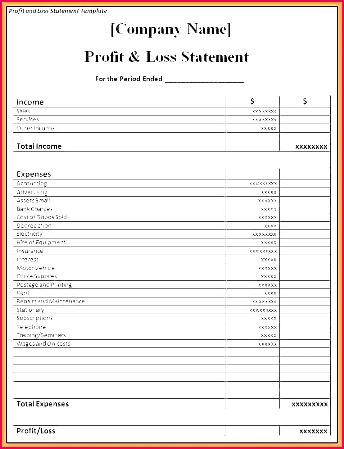 depreciation template profit and loss statement template word account format in excel monthly depreciation schedule printable