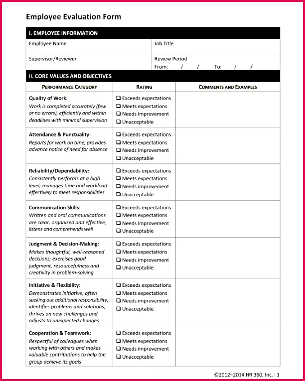 Employee Evaluation forms Template Elegant Resume Template Od Consultant Performance Appraisal Sample