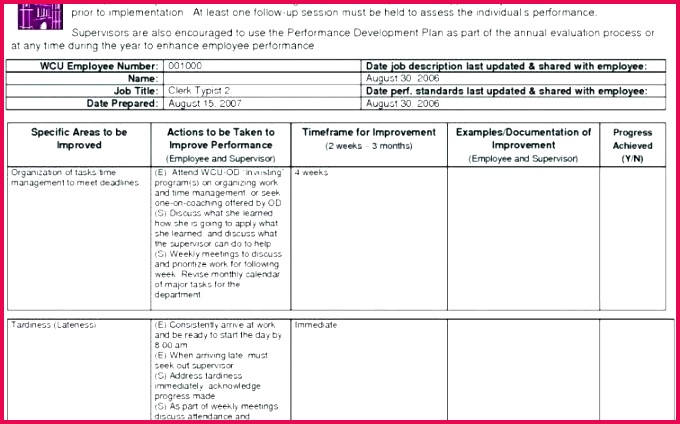 day performance improvement plan template lovely 90 evaluation form for employees elegant d