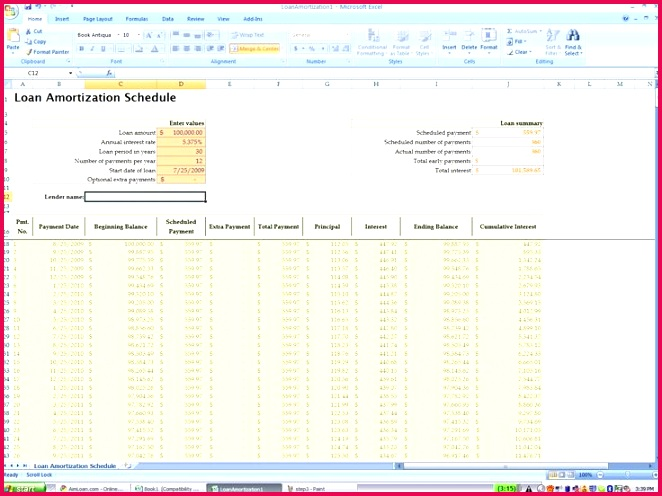 Amortization Schedule Excel Template Professional