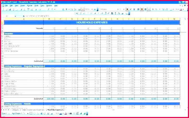 excel monthly bill template bills free co for numbers household expenses spreadsheet