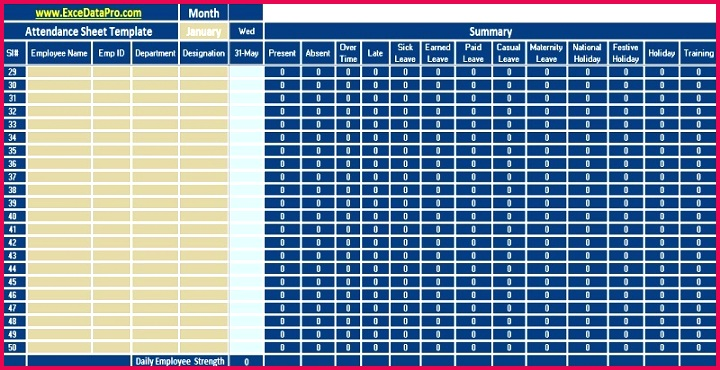 Download Employee Attendance Sheet Excel Template