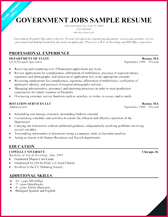 Resume Template for Government Job Good Federal Government Resume Template Best Bsw Resume 0d