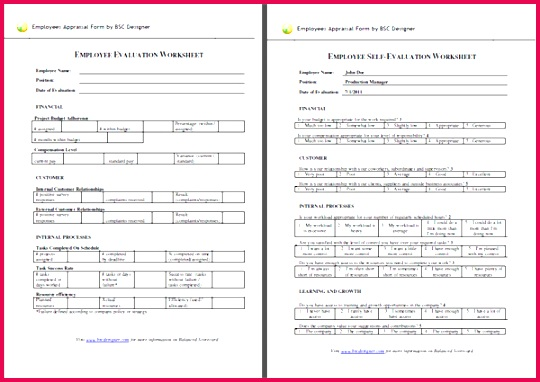Employee Evaluation forms Templates Self Appraisal form Template Fresh Od Consultant Performance