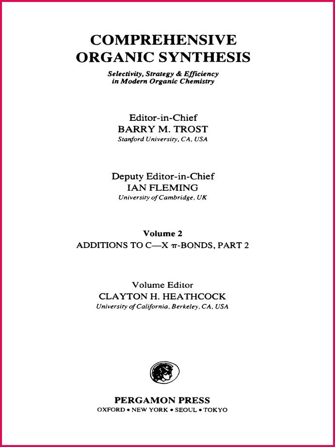 prehensive Organic Synthesis Volume 2 1991 Aldehyde
