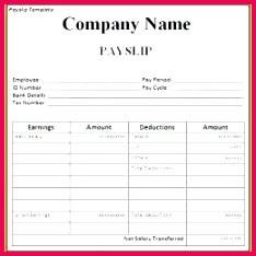 Basic Payslip Template Excel Salary Slip South Wage Word File Free Payslip Template Word