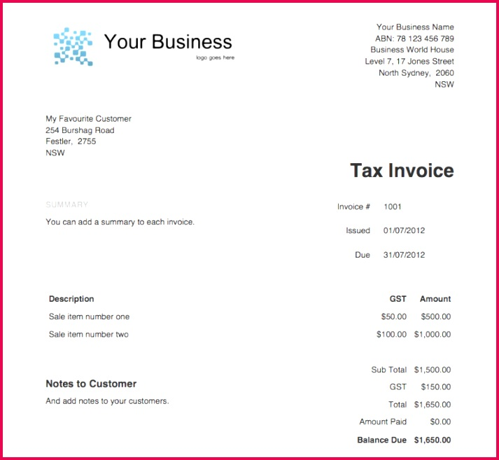 Download now Free Tax Invoice Template Excel Invoice Template Australia No Gst