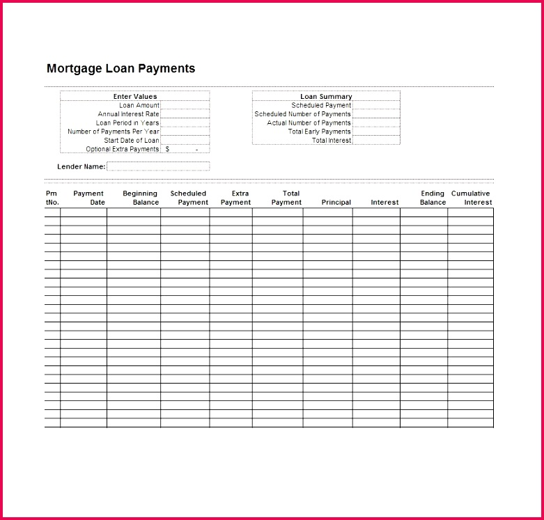 Loan Amortization Excel Template Free Amortization Table Excel Template