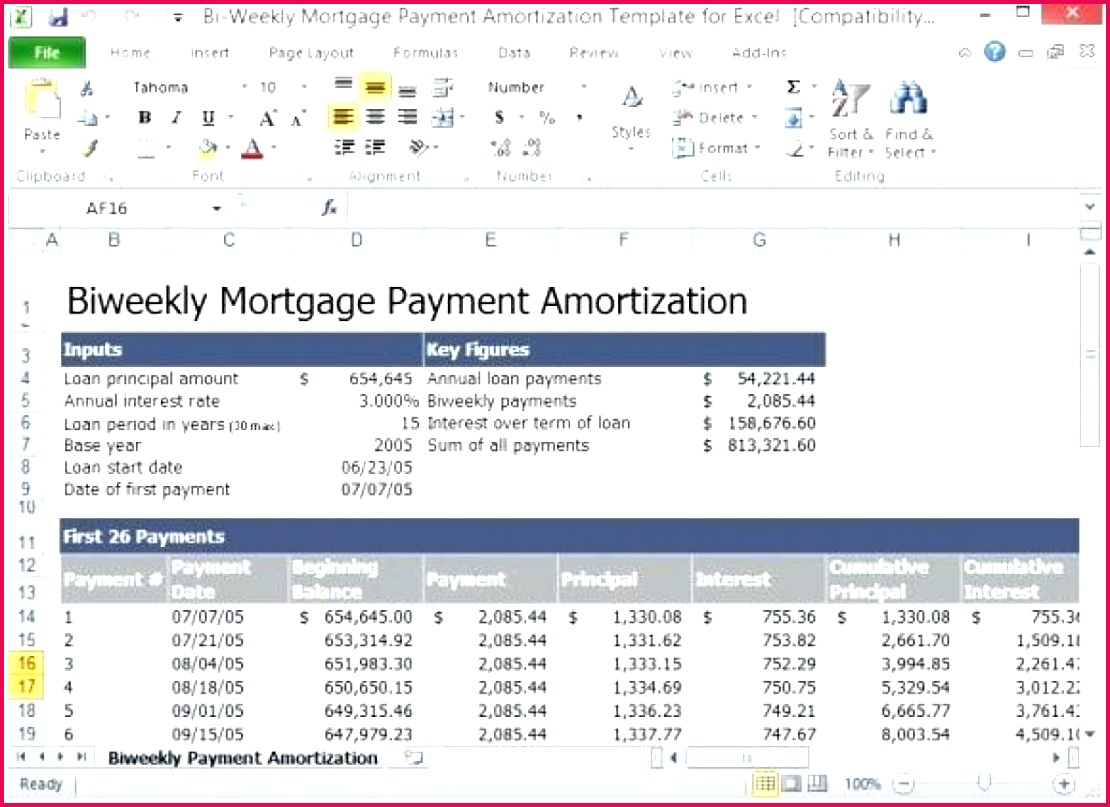 Latest Payment schedule template glass professionally designed your mortgage construction bi weekly amortization for excel lovely