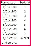 Excel Date Serial Numbers