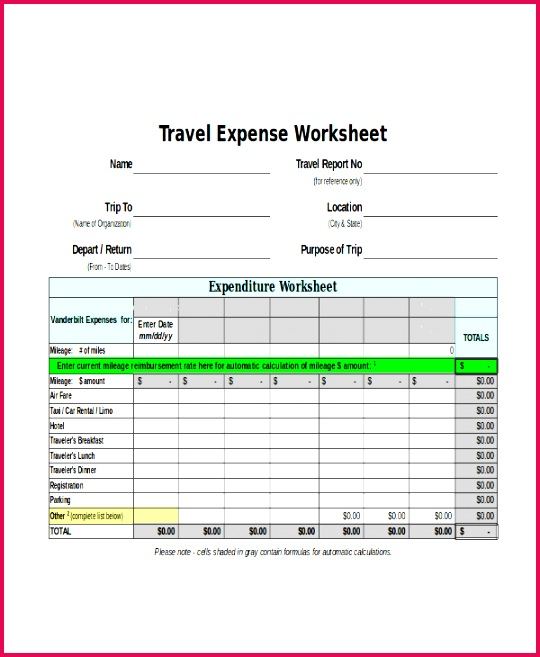 Travel Expense Report Excel