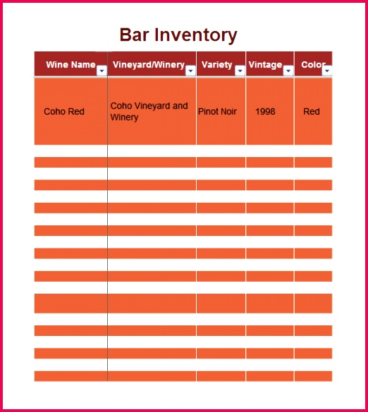 sample inventory excel