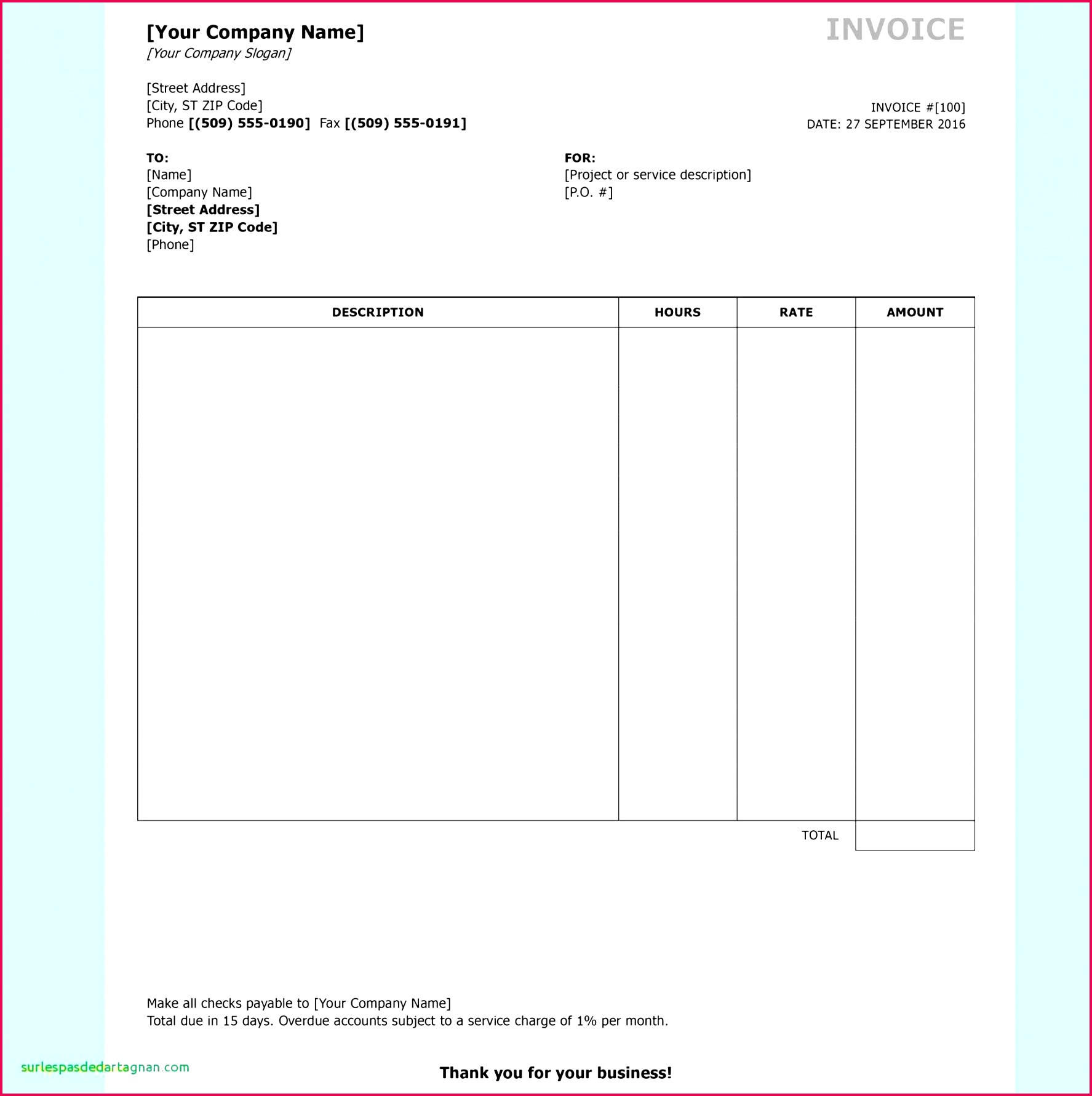 5 Free Invoices Template